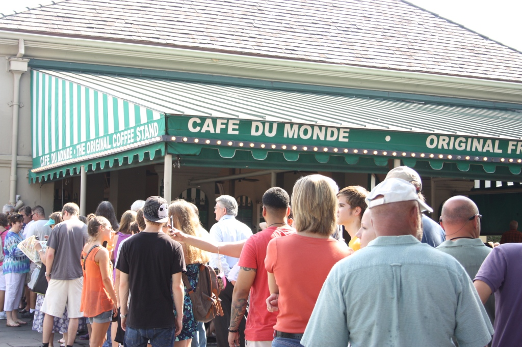 Lining the block for beignets